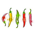watercolor colorful vegetables set red chili vector image