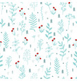 winter berry branch seamless pattern berry holly vector image vector image