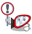with sign side mirror isolated with the character vector image vector image