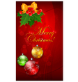 Christmas background with balls on red bow and hol vector image
