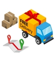 Delivery cargo with box map and pins vector image
