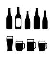beer bottle and mug set vector image