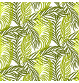 green palm leaves seamless background vector image