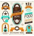 Restaurant menu banners and ribbons design vector image