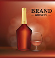 a bottle of cognac or whiskey and a glass vector image
