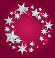 abstract greeting round frame made silver stars vector image
