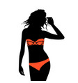 beautiful young woman with sunglasses and bikini vector image vector image