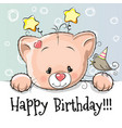 birthday card with kitten vector image