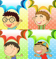 Boys in four different background vector image vector image