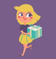 Cartoon Girl Running with Present vector image vector image
