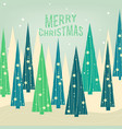 christmas card pine forest decorated trees and vector image