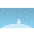Christmas landscape snowman on the hill vector image vector image