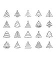 christmas tree simple black line icons set vector image vector image