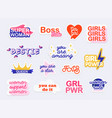 collection stickers with woman slogans vector image