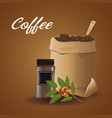 color poster sack with coffee beans and glass vector image vector image