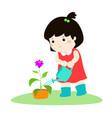 cute cartoon girl watering plant vector image