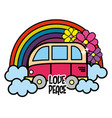 cute minibus with rainbow clouds and flowers vector image