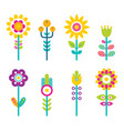 flowers and leaves collection vector image