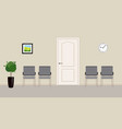 four grey chairs and wall clock in waiting room vector image