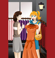 girls buying dress vector image vector image