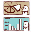hand drawn cartoon characters - graphic pie chart vector image