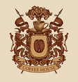 hand-drawn medieval coat arms for coffee house vector image vector image