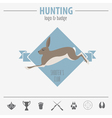 Hunting logo and badge template Flat design vector image