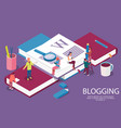 isometric books creative concept for blogging vector image