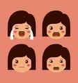 little girls emoticon set kawaii characters vector image