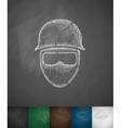 man in helmet icon vector image vector image