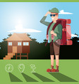man tourist in camping zone and set icons vector image vector image
