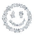 merry christmas lined icons concept vector image vector image