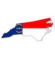 north carolina outline map and flag vector image vector image