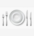 realistic food plates white ceramic dish with vector image vector image