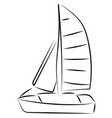 sailing boat sketch on white background vector image vector image