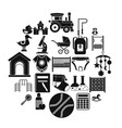 scholar icons set simple style vector image vector image