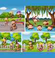 set monkey in different background vector image