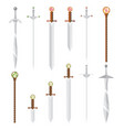 set of cartoon style swords and magic wands with vector image