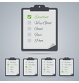Set of evaluation clipboards in flat style vector image