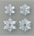 set of nine different paper snowflake cut from vector image