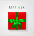 set red gift box with green bow and ribbon top vector image vector image