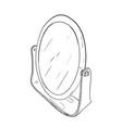 sketch of desktop round mirror vector image vector image