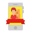 smartphone with delivery worker and boxes vector image vector image