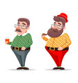 smoking pipe coffee geek hipster casual character vector image vector image