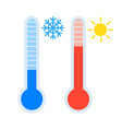 thermometer icon set measuring heat and cold vector image