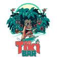 tiki surfer and tiki play ukulele and drum vector image vector image