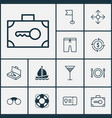 tourism icons set with currency exchange vector image