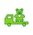 truck with bear lemon scribble icon on vector image vector image