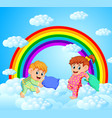 two happy children is fighting a pillows vector image