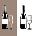 wine glass and bottle of champagne vector image